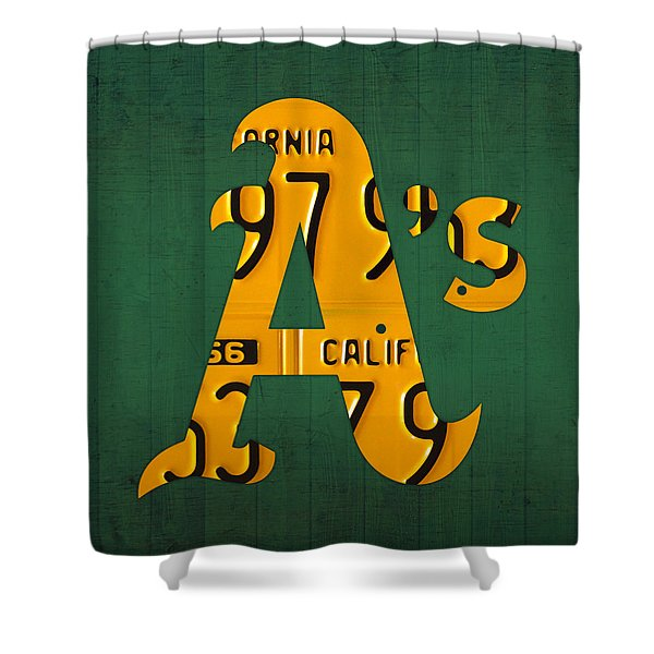 Oakland Athletics Vintage Baseball Logo License Plate Art Shower Curtain