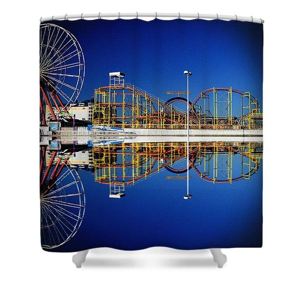 Ocean City Amusement Pier Reflections Shower Curtain
