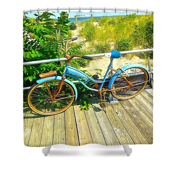Ocean Grove Bike Shower Curtain
