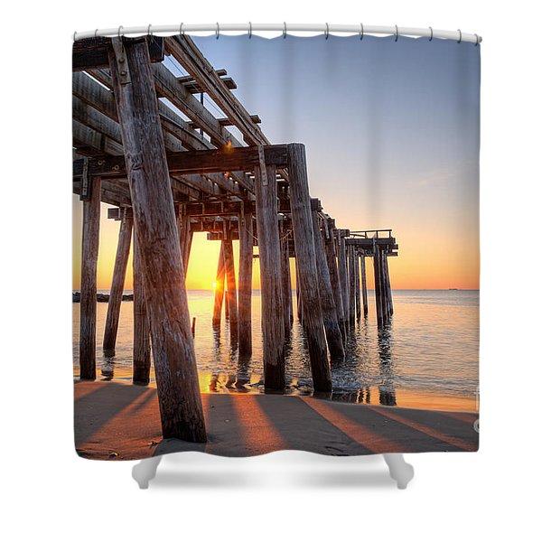 Ocean Grove Pier Sunrise Shower Curtain