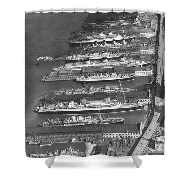 Ocean Liners At Nyc Dock Shower Curtain