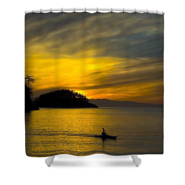 Ocean Sunset At Rosario Strait Shower Curtain