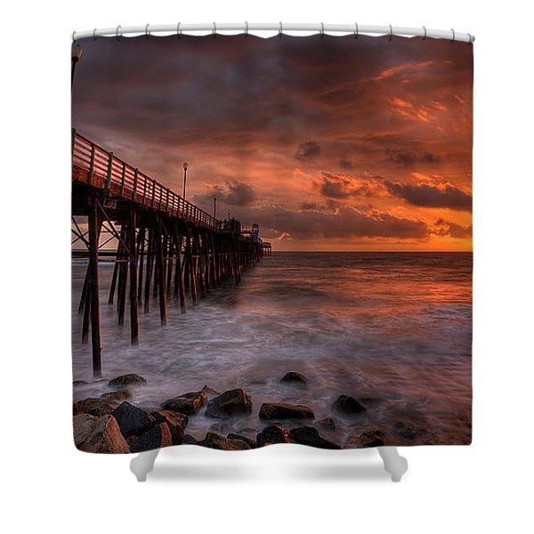 Oceanside Pier Perfect Sunset -ex-lrg Wide Screen Shower Curtain