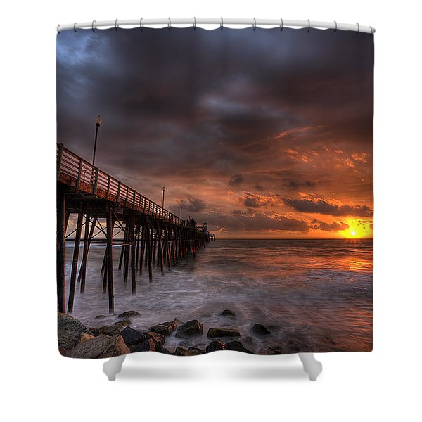 Oceanside Pier Perfect Sunset Shower Curtain