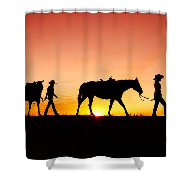 Off To The Barn Shower Curtain
