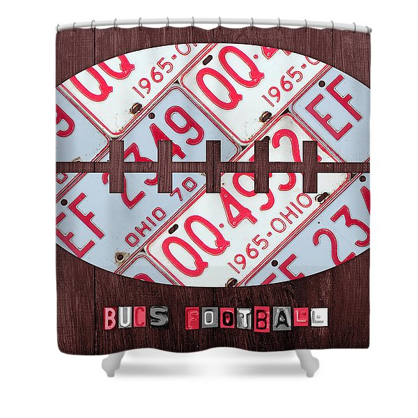 Ohio State Buckeyes Football Recycled License Plate Art Shower Curtain