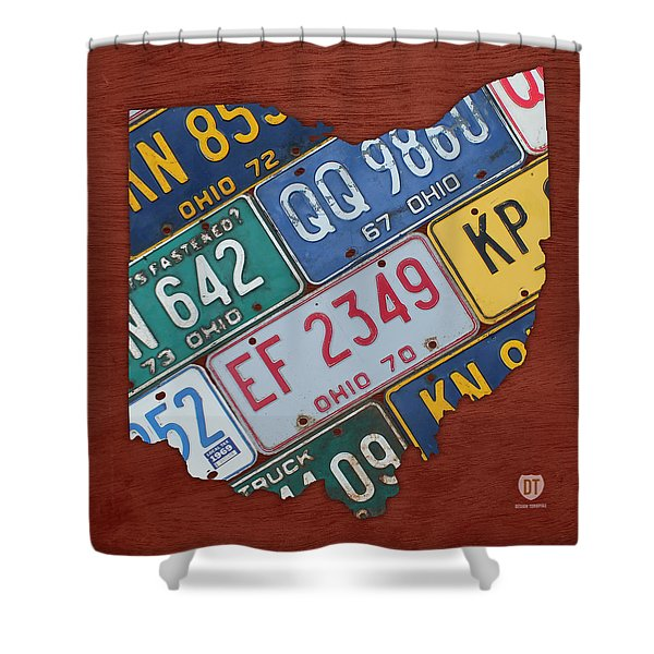 Ohio State Map Made Using Vintage License Plates Shower Curtain