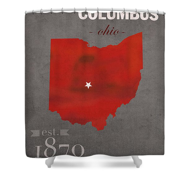 Ohio State University Buckeyes Columbus Ohio College Town State Map Poster Series No 005 Shower Curtain