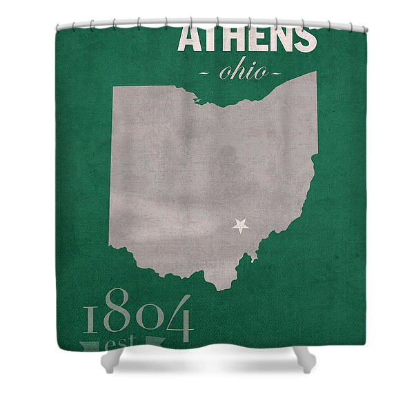 Ohio University Athens Bobcats College Town State Map Poster Series No 082 Shower Curtain