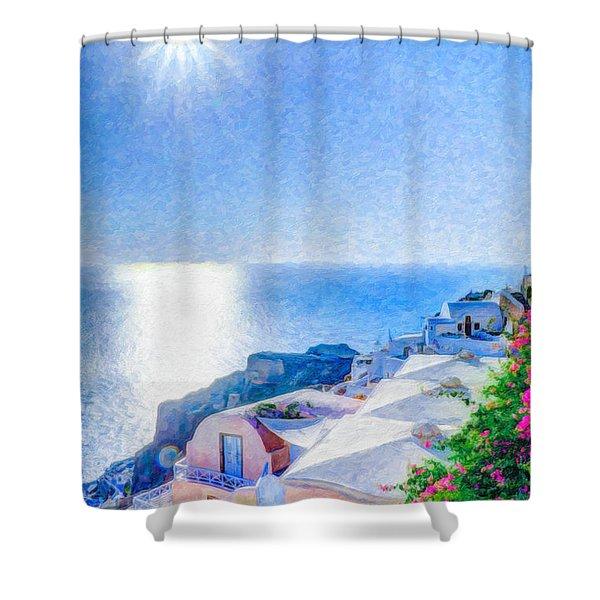 Oia Santorini Grk4178 Shower Curtain