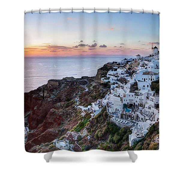 Oia Town On Santorini Island Greece At Sunset Shower Curtain