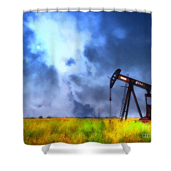 Oil Pump Field Shower Curtain