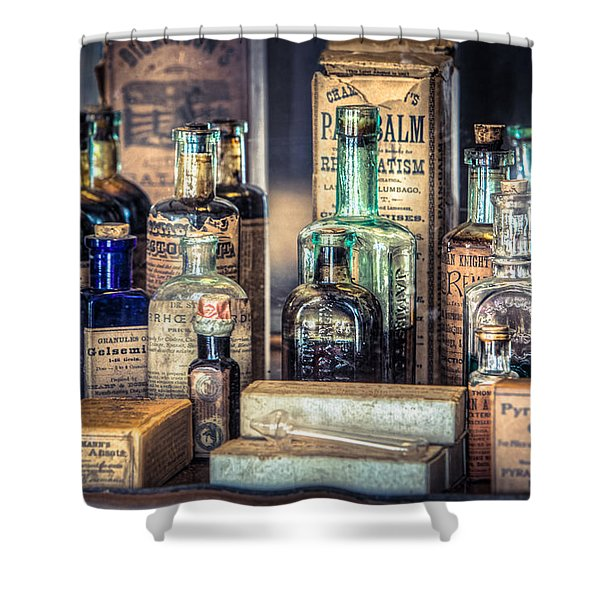 Ointments Tonics And Potions - A 19th Century Apothecary Shower Curtain