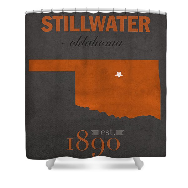 Oklahoma State University Cowboys Stillwater College Town State Map Poster Series No 084 Shower Curtain