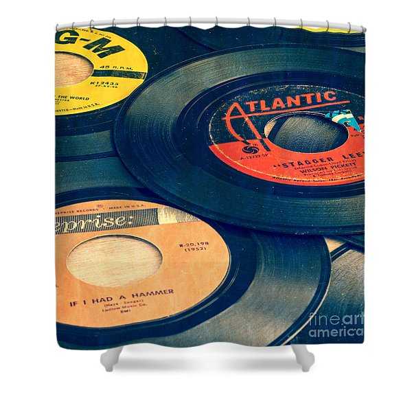 Old 45 Records Square Format Shower Curtain
