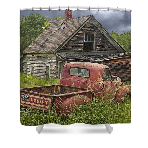 Old Abandoned Homestead And Truck Shower Curtain