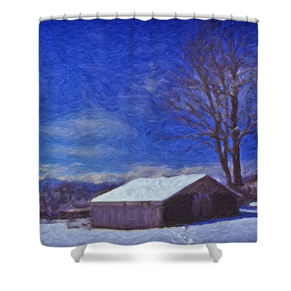 Old Barn In Winter Shower Curtain