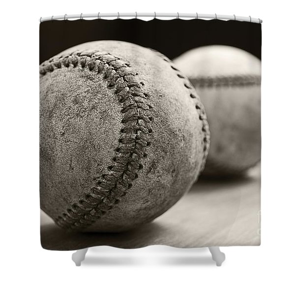 Shower Curtain featuring the photograph Old Baseballs by Edward Fielding