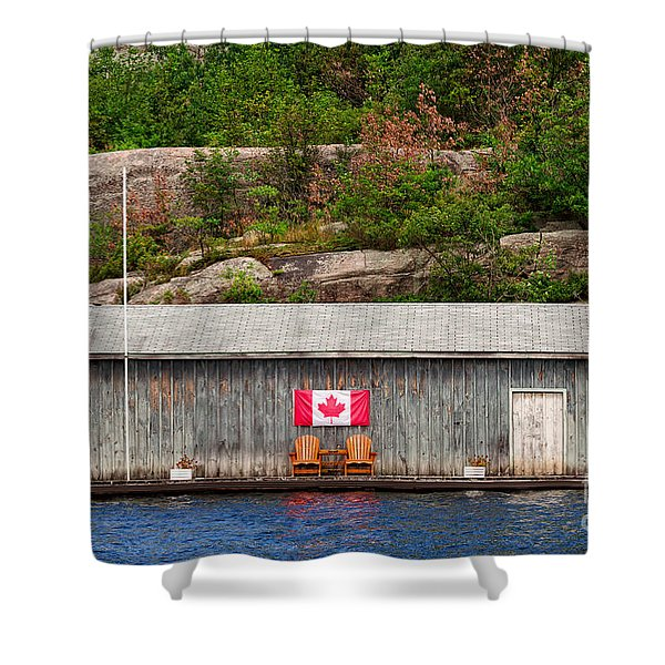Old Boathouse With Two Muskoka Chairs Shower Curtain