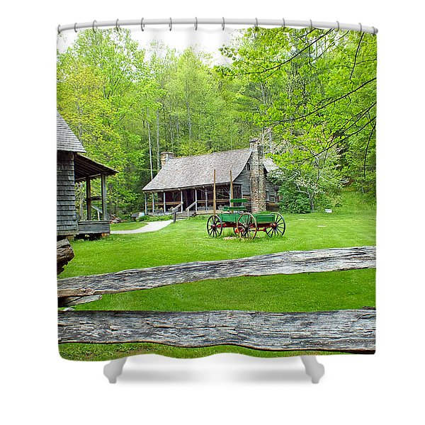 Old Cabins At The Cradle Of Forestry Shower Curtain
