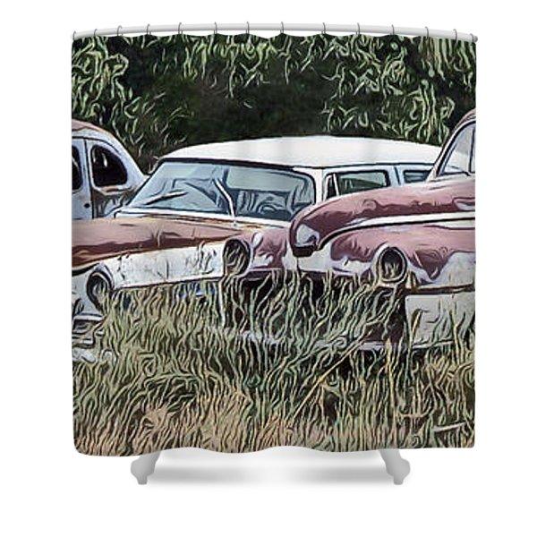 Old Car Graveyard Shower Curtain
