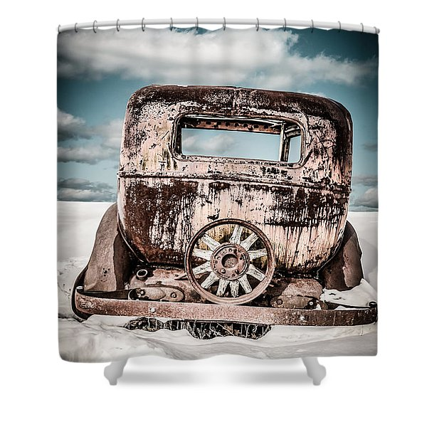 Old Car In The Snow Shower Curtain