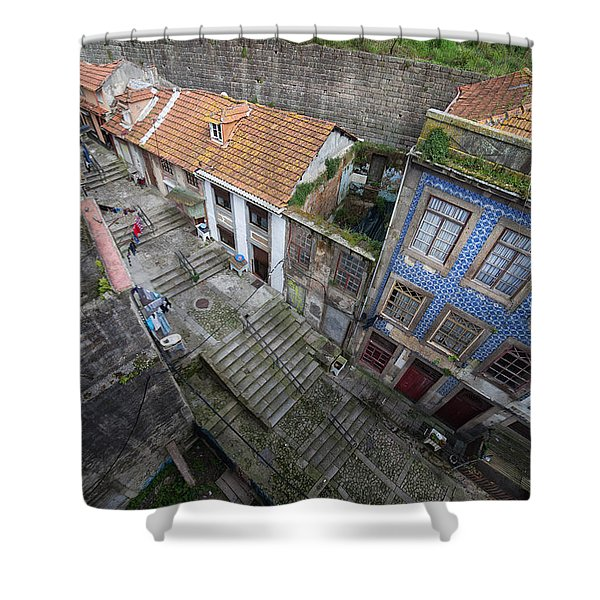 Old City Of Porto In Portugal From Above Shower Curtain