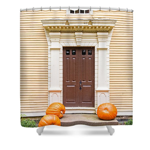 Old Colonial Era Front Door With Pumpkins Shower Curtain