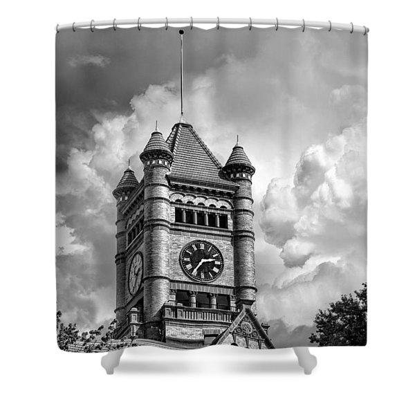 Old Dupage County Courthouse Clouds Black And White Shower Curtain