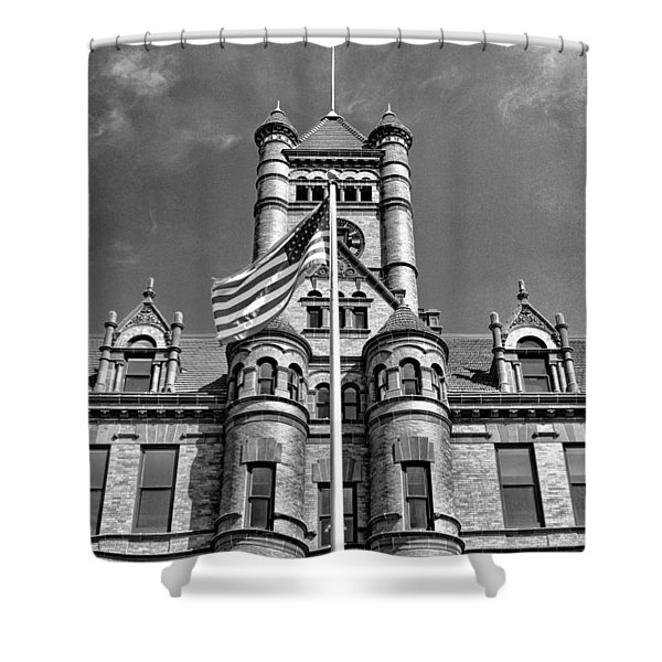 Old Dupage County Courthouse Flag Black And White Shower Curtain