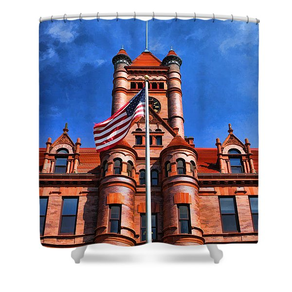 Old Dupage County Courthouse Flag Shower Curtain