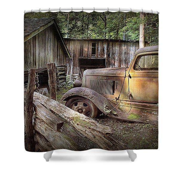 Old Farm Pickup Truck Shower Curtain