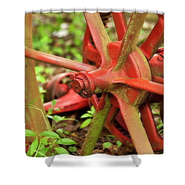 Old Farm Tractor Wheel Shower Curtain