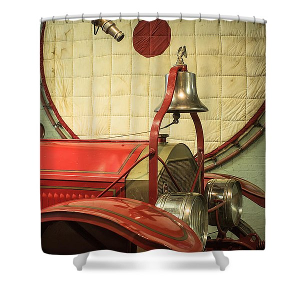 Old Fire Truck Engine Safety Net Shower Curtain