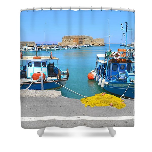 Old Harbor  And Koules The Venetian Medieval Fortress From Heraklion Crete Greece  Shower Curtain