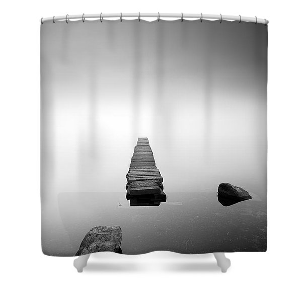Old Jetty In The Mist Shower Curtain