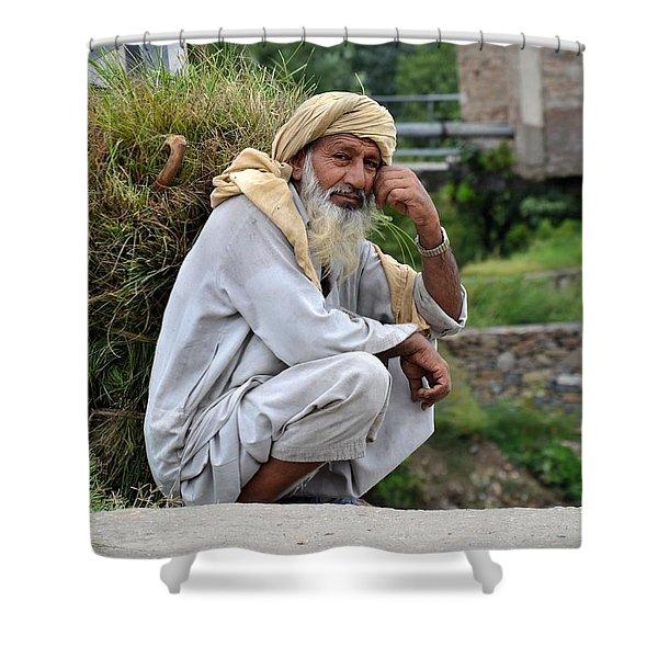 Old Man Carrying Fodder Swat Valley Kpk Pakistan Shower Curtain