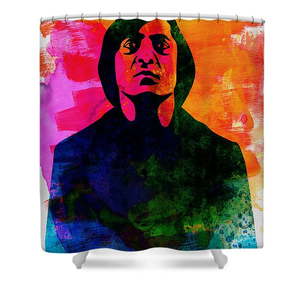 Old Man Watercolor Shower Curtain