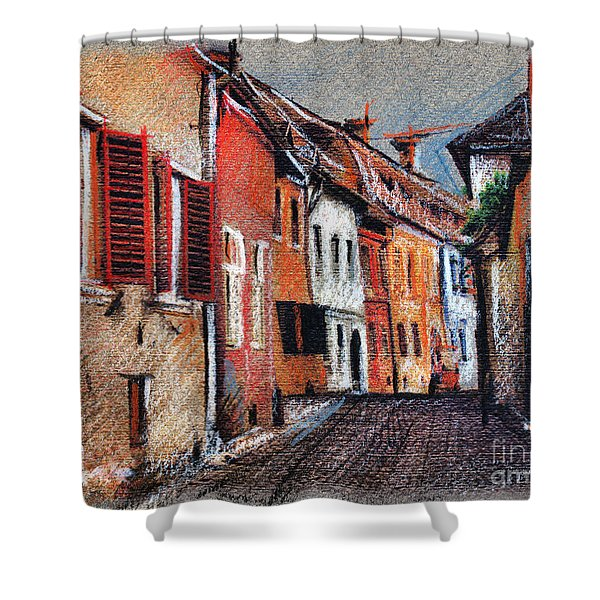 Old Medieval Street In Sighisoara Citadel Romania Shower Curtain