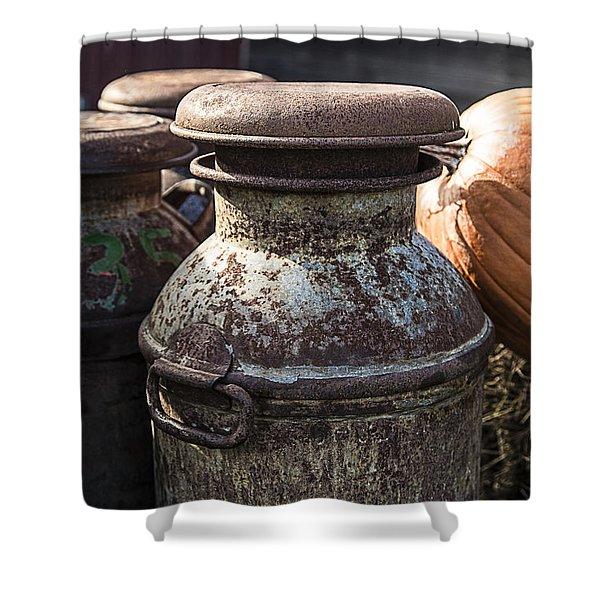 Old Milk Cans Shower Curtain