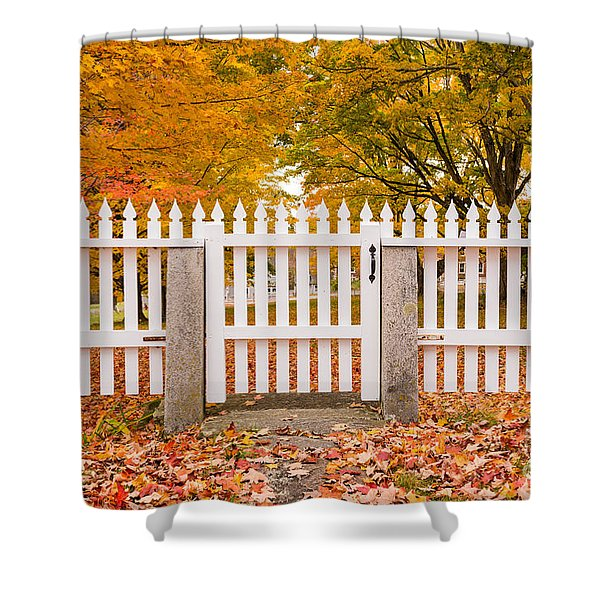 Old New England White Picket Fence Shower Curtain