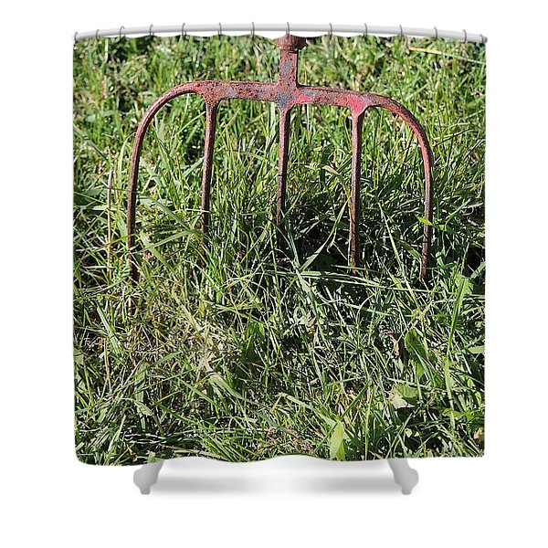 Old Pitch Fork Shower Curtain