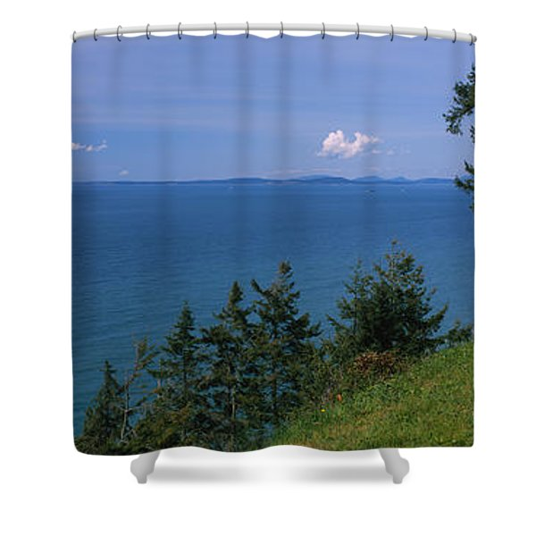 Old Red Chair Near The Sea, Strait Shower Curtain