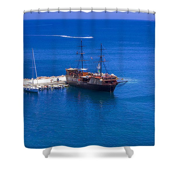 Old Sailing Ship In Bali Shower Curtain