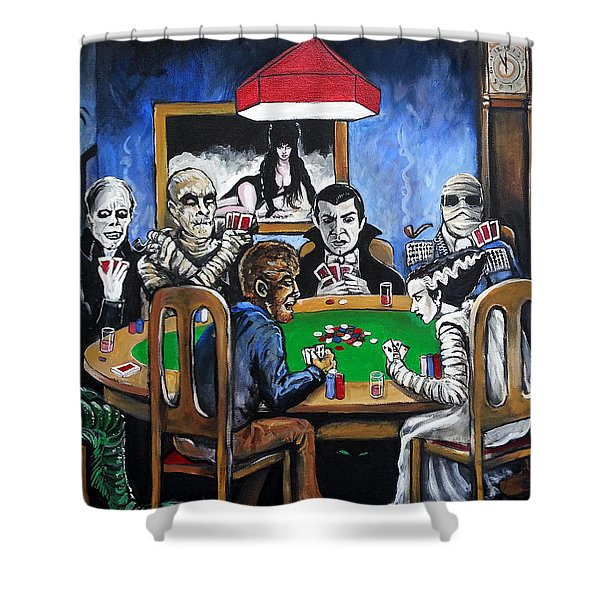 Old School Horror Card Game Shower Curtain