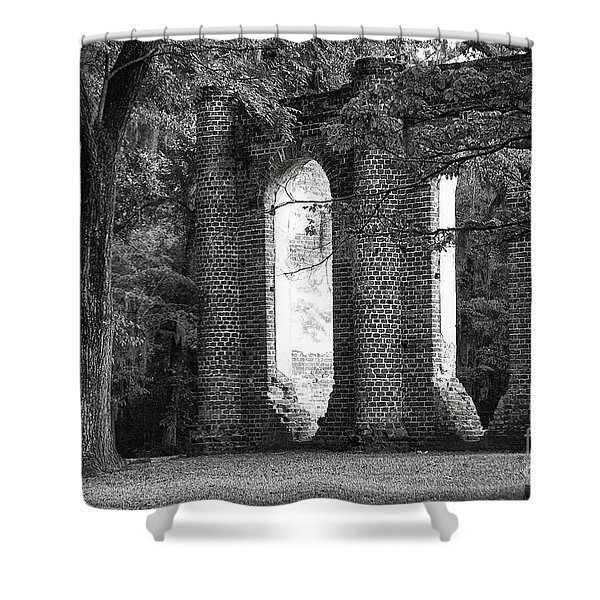 Old Sheldon Church Side View Shower Curtain