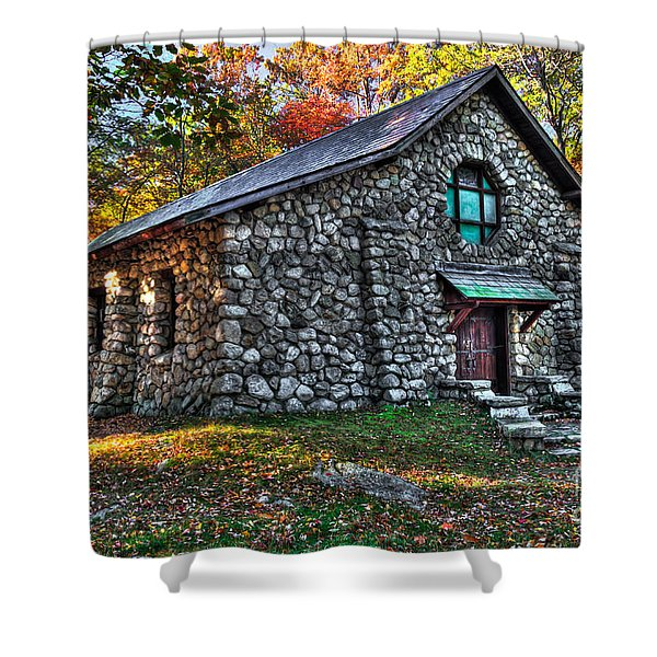 Old Stone Lodge Shower Curtain