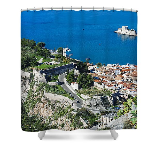 Old Town Nafplio And Ruins Shower Curtain