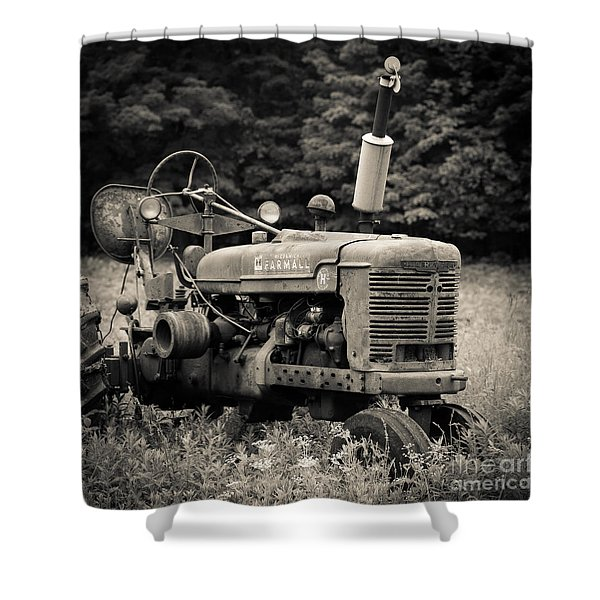 Old Tractor Black And White Square Shower Curtain