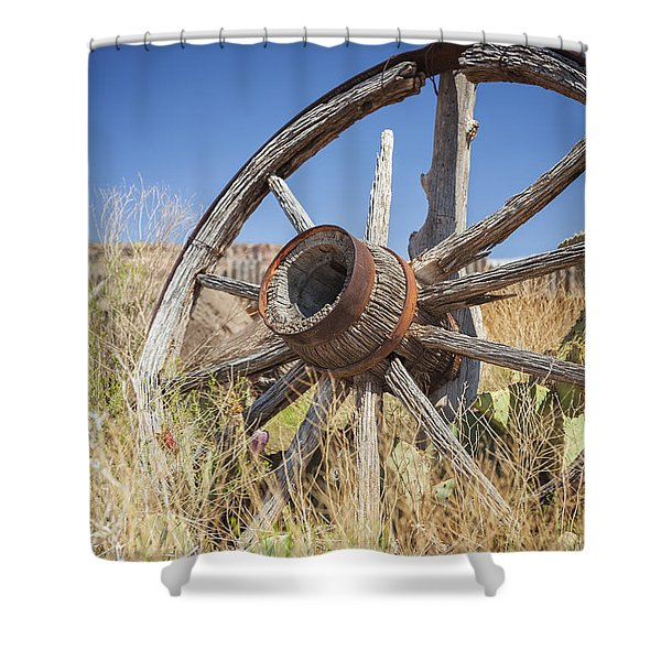 Shower Curtain featuring the photograph Old Wagon Wheel by Bryan Mullennix